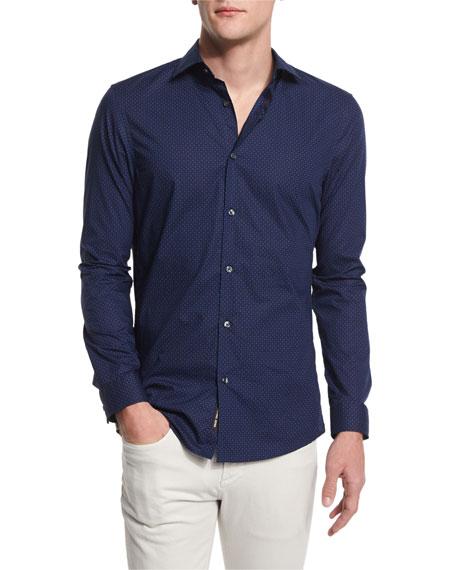 Michael Kors Nate Dot-Print Slim-Fit Sport Shirt, Navy