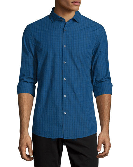 Michael Kors Slim-Fit Check Long-Sleeve Sport Shirt, Navy