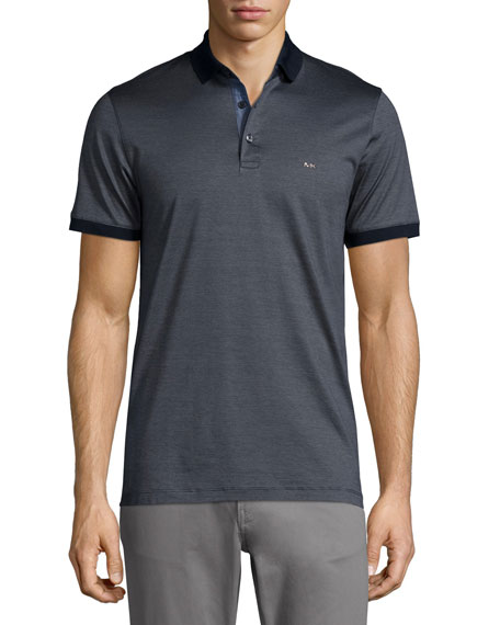 Michael Kors Micro-Stripe Short-Sleeve Polo Shirt, Navy