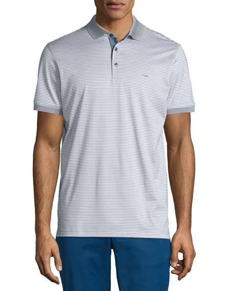 Michael Kors Feeder Stripe Chambray-Trim Polo Shirt, Medium