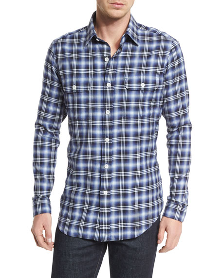 TOM FORD Large Plaid Tailored-Fit Sport Shirt, Purple/White