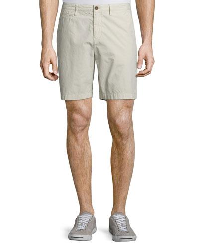 Flat-Front Chino Shorts, Gray