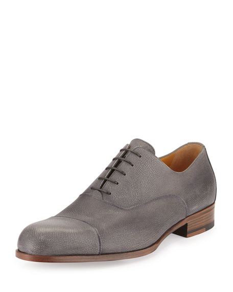 Grained Leather Lace-Up Derby, Pearl