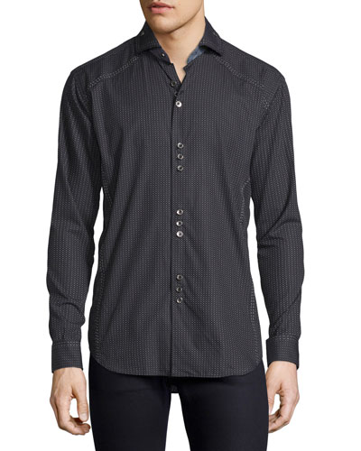 Jacquard Long-Sleeve Shirt, Black