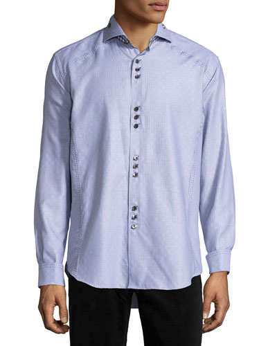 Jacquard Long-Sleeve Sport Shirt, Gray