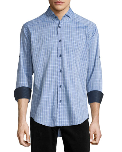 Plaid Long-Sleeve Sport Shirt, Blue Pattern