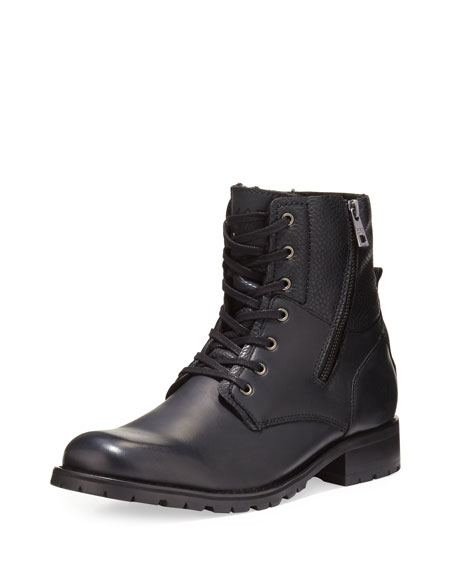 Andrew Marc Vesey Fleece-Lined Leather Boot, Black