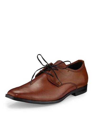 Leather Square-Toe Oxford, Maple/Black