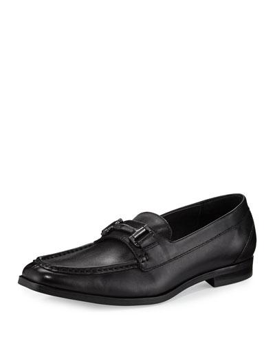 Leather Bit-Strap Loafer, Black