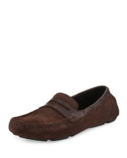 Suede Penny Driving Loafer, Chocolate