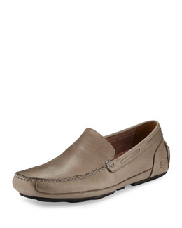 Textured Leather Driving Loafer, Griffin/Black