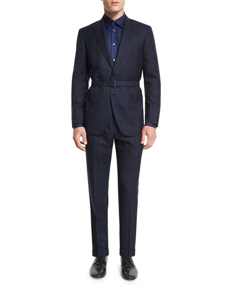 Brioni Tonal Plaid Two-Piece Wool Suit, Blue