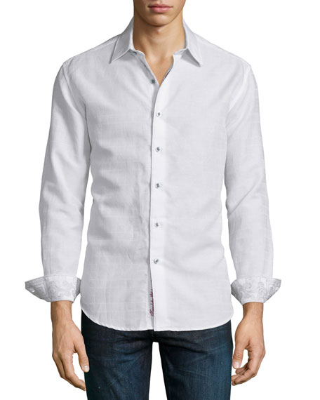 Captain Merrill Tonal-Check Sport Shirt, White