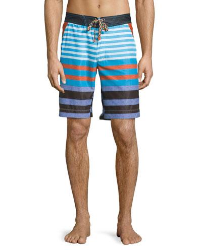 Inman Multi-Striped Long Swim Trunks, Multi