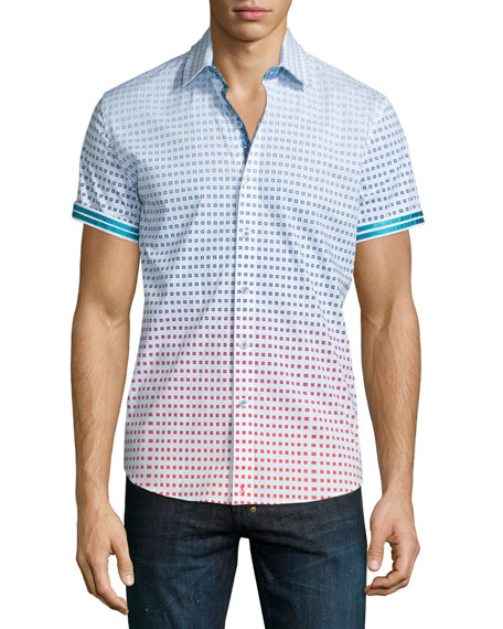 Robert Graham Oriental Steam Printed Short-Sleeve Shirt, White Pattner