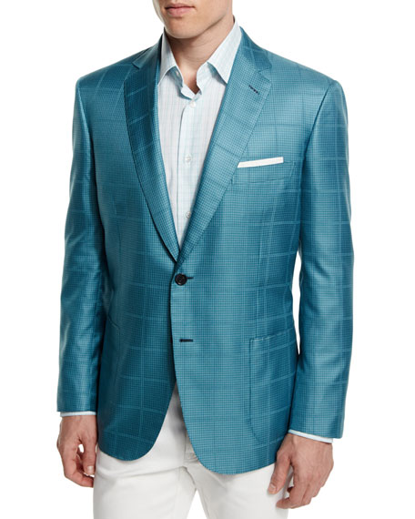 Check Two-Button Wool Jacket, Aqua/Green