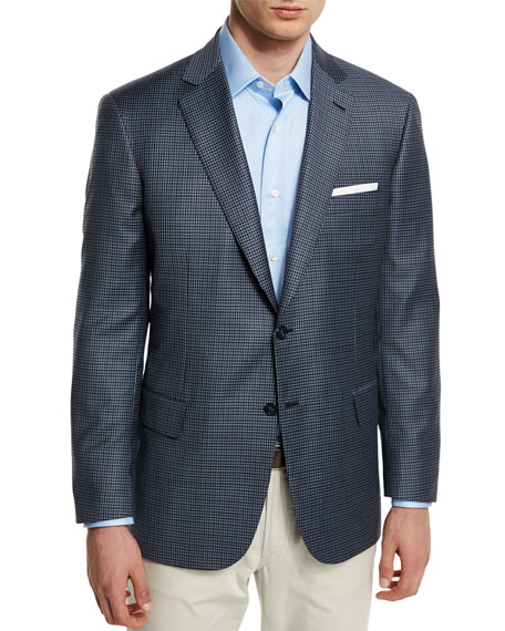 Brioni Check Two-Button Jacket, Navy/Brown