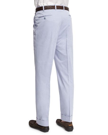 Flat-Front Wool-Blend Trousers, Light Blue