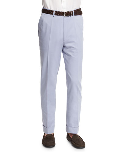 Flat-Front Wool-Blend Trousers, Light Blue