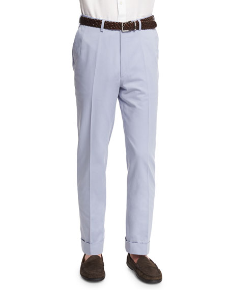 Brioni Flat-Front Wool-Blend Trousers, Light Blue