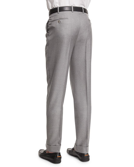 Flat-Front Twill Trousers, Light Gray