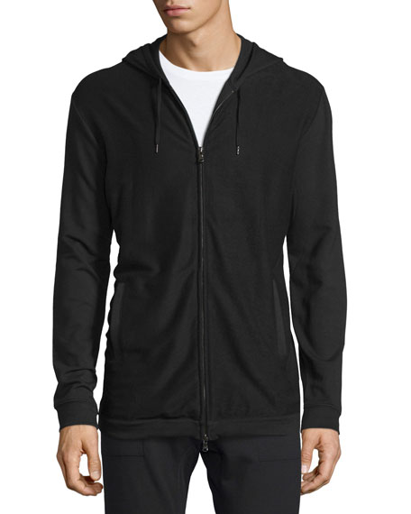 John Varvatos Star USA Stretch-Knit Zip Hoodie, Black