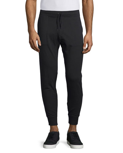 Stretch-Knit Moto Jogger Pants, Black