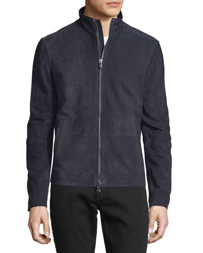 Suede Zip-Up Jacket, Dark Purple
