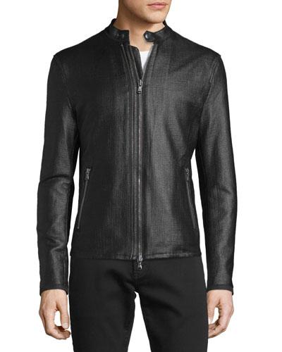 Textured Zip Moto Jacket, Black