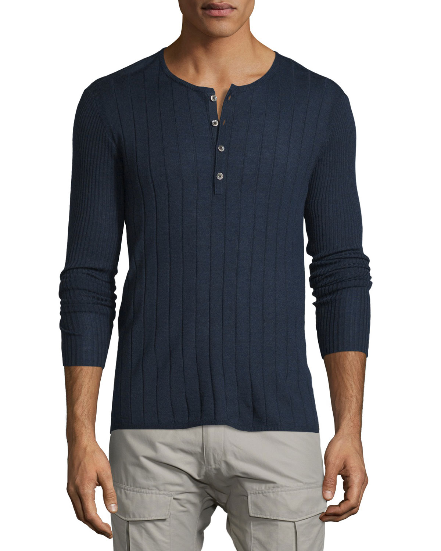 John Varvatos Star USA Ribbed Long-Sleeve Henley Shirt 5403db4e6