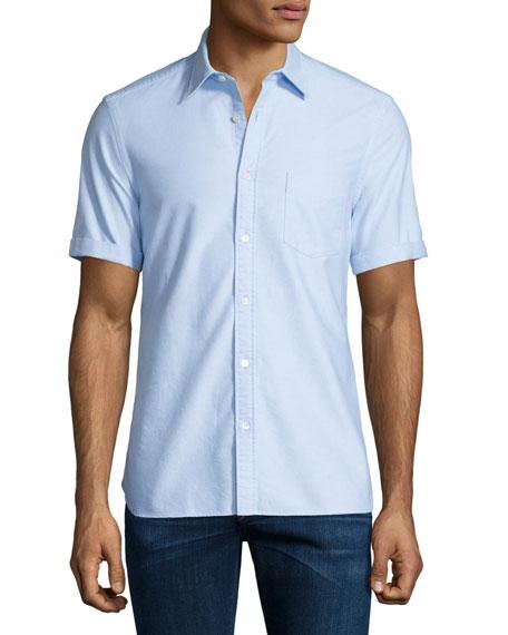 Short-Sleeve Oxford Shirt, Blue Pattern