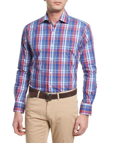 Peter Millar Melange Plaid Long-Sleeve Sport Shirt, Blue