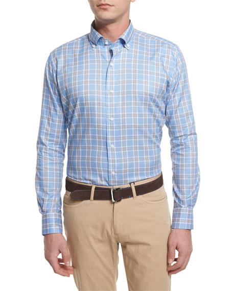 Peter Millar Nantucket Plaid Long-Sleeve Sport Shirt, Blue
