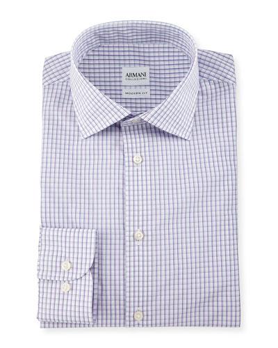 Modern Fit Box-Check Woven Dress Shirt, Purple