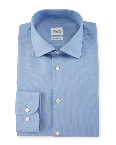 Modern Fit Micro Rope-Print Dress Shirt, Light Blue