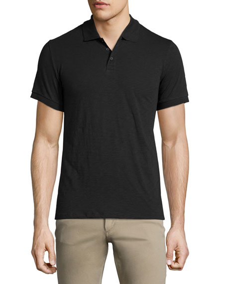 Vince Slub-Knit Short-Sleeve Polo Shirt, Black