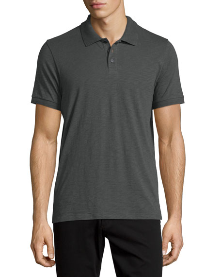Vince Short-Sleeve Slub Polo Shirt, Gray