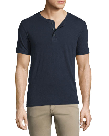 Vince Short-Sleeve Slub Henley Shirt, Navy