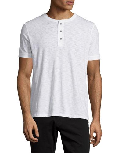 Short-Sleeve Slub Henley Tee, White