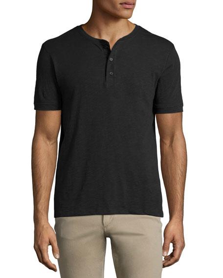 VinceSlub Short-Sleeve Henley Shirt, Black