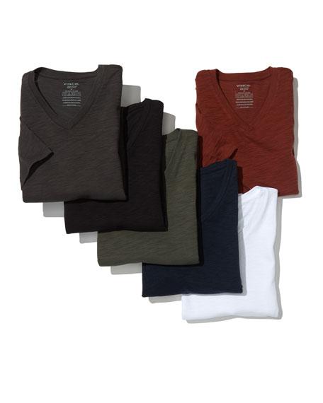 Slub Short-Sleeve V-Neck T-Shirt