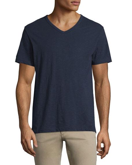 Vince Slub Short-Sleeve V-Neck T-Shirt, Navy