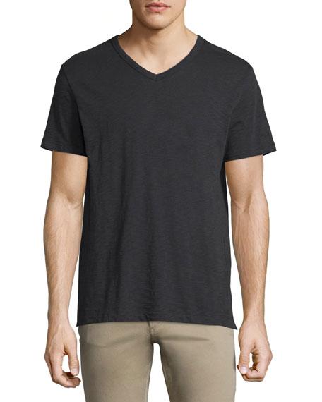 Vince Slub Short-Sleeve V-Neck T-Shirt, Black