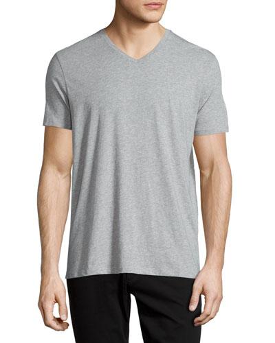 Short-Sleeve V-Neck Jersey Tee, Gray