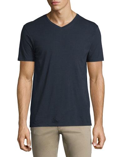 Short-Sleeve V-Neck Pima Jersey Tee, Navy