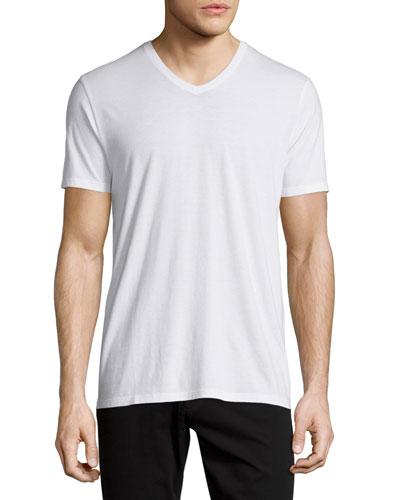 Short-Sleeve V-Neck Jersey Tee, White