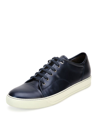 Cap-Toe Shiny Leather Low-Top Sneaker, Blue