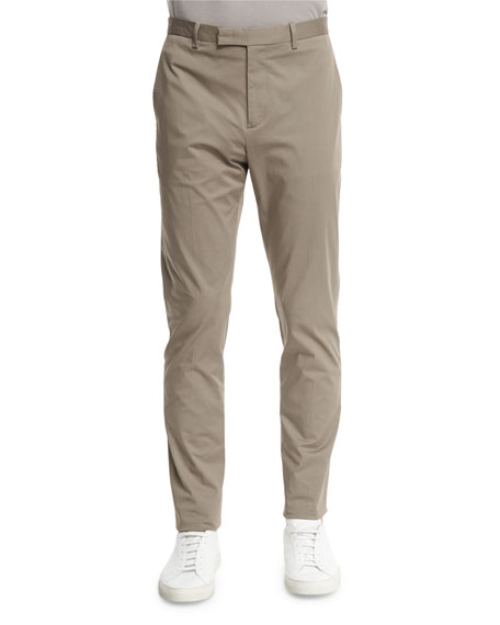 TheoryLenix Flat-Front Stretch-Knit Pants, Beige