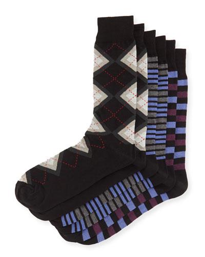 Men's Assorted Sock Three-Pair Set, Argyle/Mix