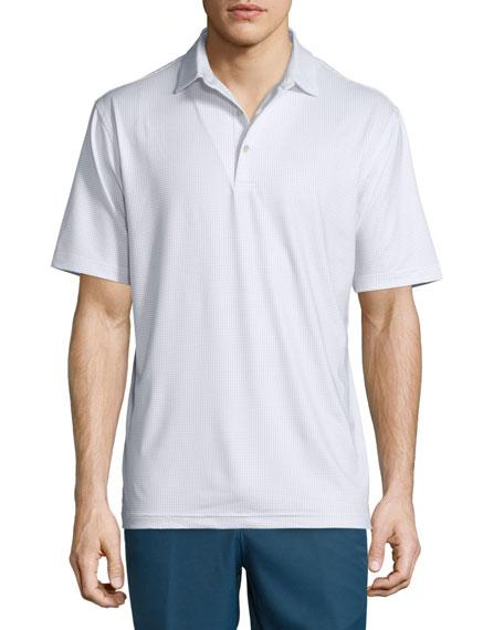Peter Millar Mini Dot-Print Short-Sleeve Polo Shirt, White